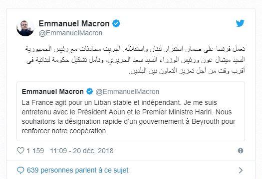 Francophonie : Emmanuel Macron tweete en arabe un message aux Libanais … qui pour 68% apprennent le Français dès l'école primaire