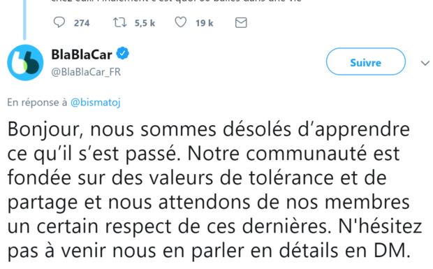 Blablacar s'excuse que ses utilisateurs soient contre l'accueil des migrants et demande les détails par messagerie privée