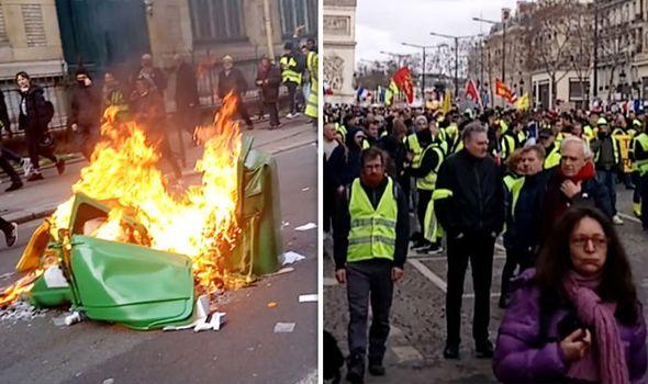 SHOCKING photos show anti-Macron 'Gilet Jaune' RIOTING in Paris – Police and shops HIT