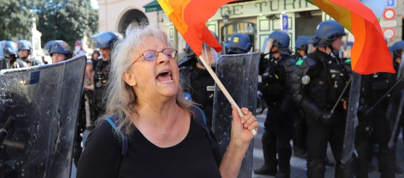 How an elderly female protester became a symbol of defiance against Macron's repression