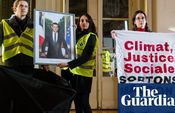 Taking Macron down: climate protesters strip French town halls of portraits