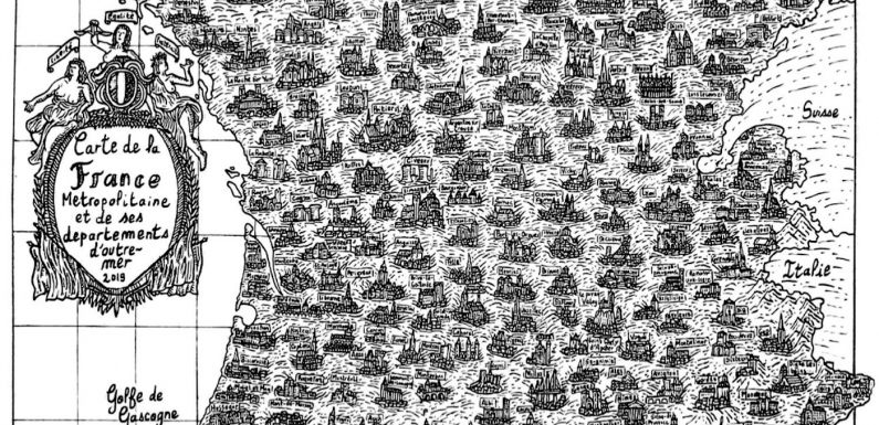 À 19 ans, il reproduit la carte de France à l'encre de Chine en illustrant chaque ville par son monument phare